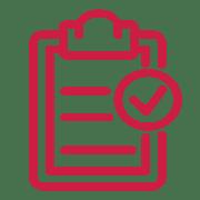 Clipboard checklist icon in red