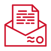 Letter icon in red